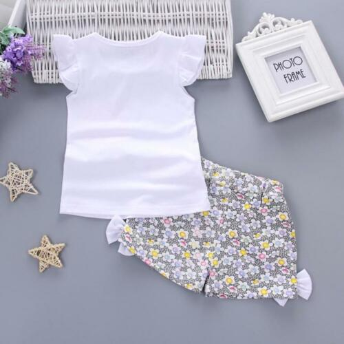 Toddler Kids Baby Girls Summer Outfits T-shirt Tops+Short Pants Clothes Set
