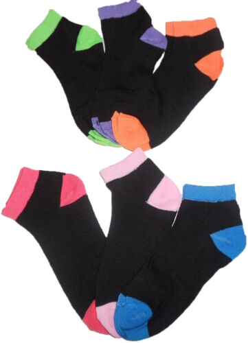 Orange Women/'s Black and Neon Socks 6 Pairs Green Pink Blue Purple Fuchsia
