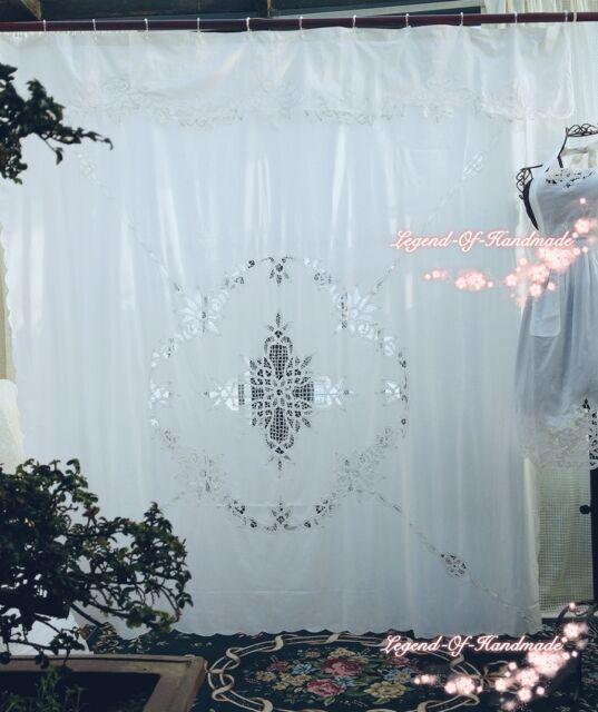 Defective Vintage Style Battenburg Lace Shower Curtain Pure Cotton ...