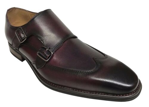 La Milano Men/'s Double Monk Strap Wing Tip Burgundy Leather Dress Shoes A11576