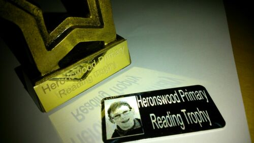 Photo Text Engraved Trophy Engraving Plate 50mm x 25mm Self Adhesive Gold