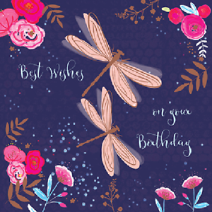 Image Is Loading Dragonflies Best Wishes Birthday Greeting Card For Royal