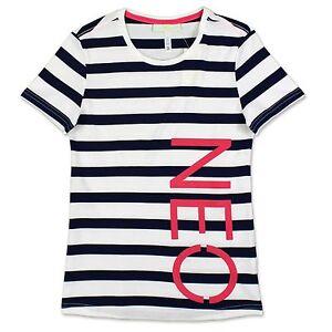Details about Adidas Neo Striped Tee Women's Casual & Sports Stripes Shirt White Navy XXS L
