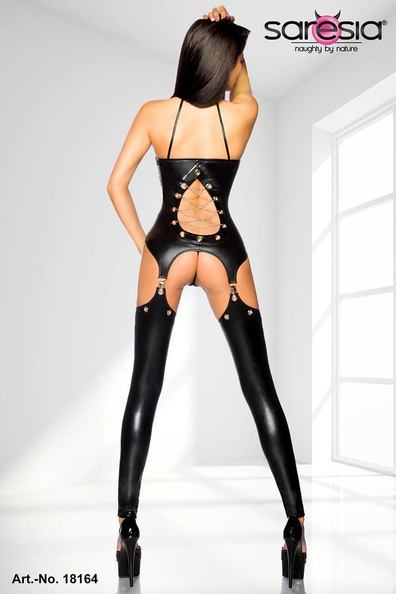 SARESIA SET BODY DRESS metallic stulpen wetlook kunstleder gothic gogo schwarz