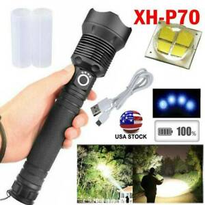 Tactical 990000Lumens XHP70 LED Flashlight Rechargeable Super Bright XHP50 Lamp