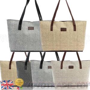 Newest-Fashion-Women-Handbag-Canvas-Shopping-Linen-Casual-Totes-Shoulder-Bag-UK