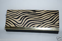 Banana Republic Haircalf Zebra Clutch Purse Handbag Leather Foldover $98