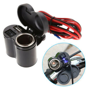 Motorbike-Motorcycle-Car-Cigarette-Lighter-Power-Plug-Socket-12V-USB-Charger-NEW