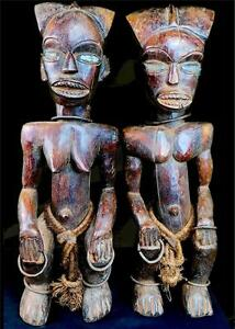Un VECCHIO tribù FANG COPPIA RELIQUARY custode FIGURE Gabon / CAMERUN