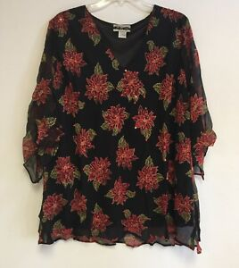 Women-039-s-Printed-Embellished-Polyester-Plus-Size-Tunic-Top-Blouse-1X-2X-3X-NWT
