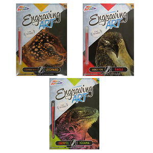 A4-Engraving-Animals-Art-Foil-Pack-3-Designs-To-Pick-Eagle-Leopard-or-Iguana