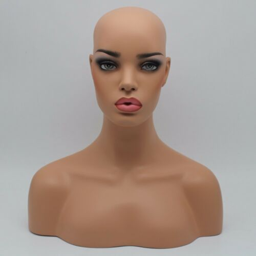 Realistic Fiberglass Female Mannequin Head Bust For Wigs