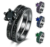18K Black Gold Plated Zircon Ring Wedding Engagement Jewelry Black Gun Rings