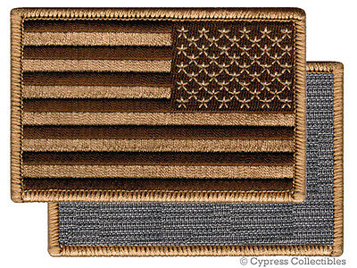 VELCRO AMERICAN FLAG MOTORCYCLE VEST BIKER PATCH BROWN LEFT embroidered US USA