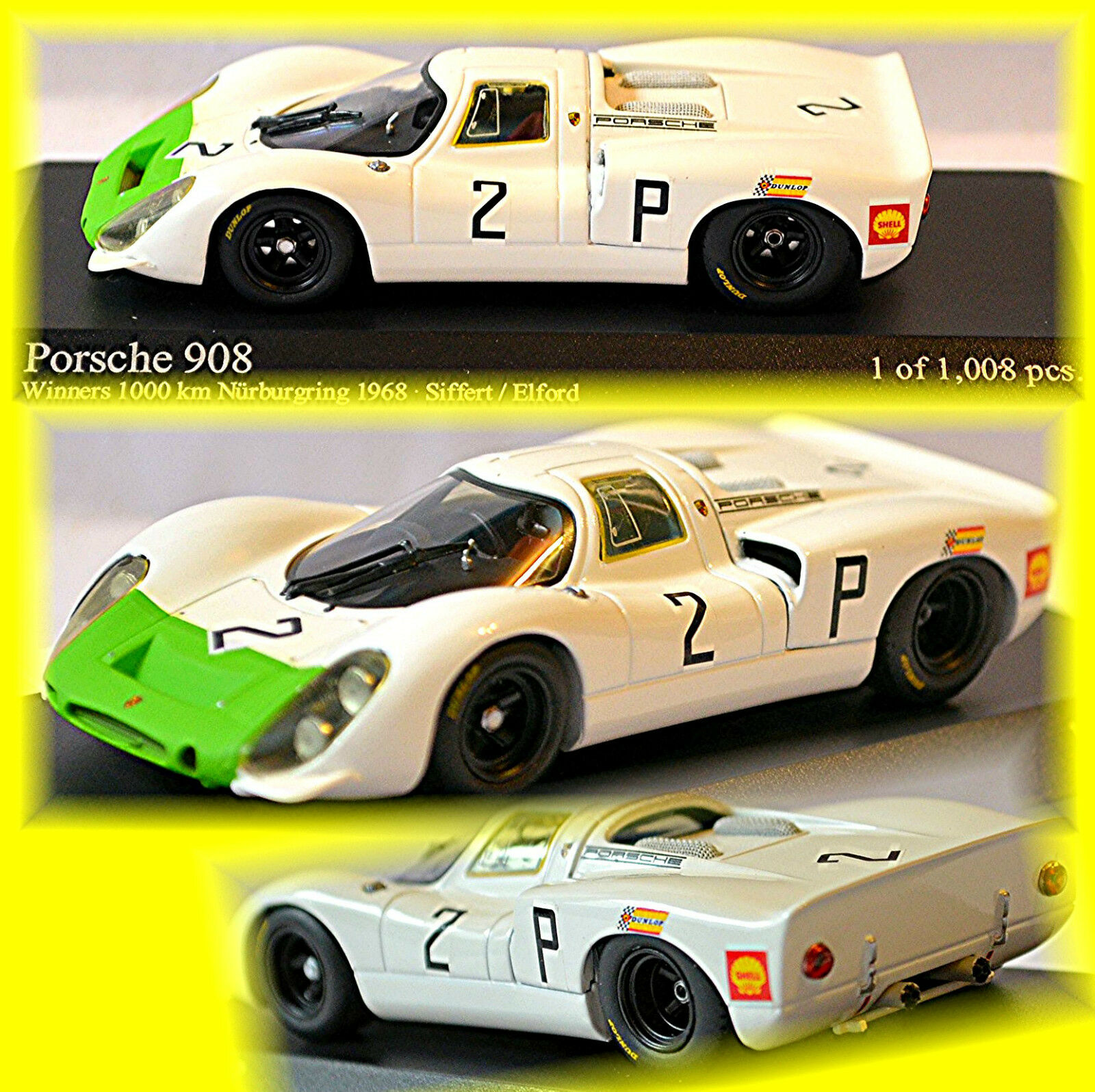 PORSCHE 908 WINNER 1000km NURBURGRING 1968 MAMMOLO Elford  2 1 43 Minichamps