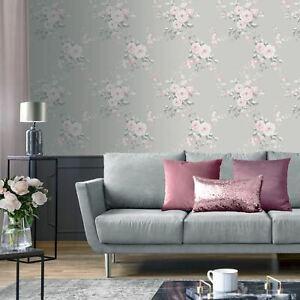 Lansfield-Feuilles-Roses-Papier-Peint-Gris-Rose-165503
