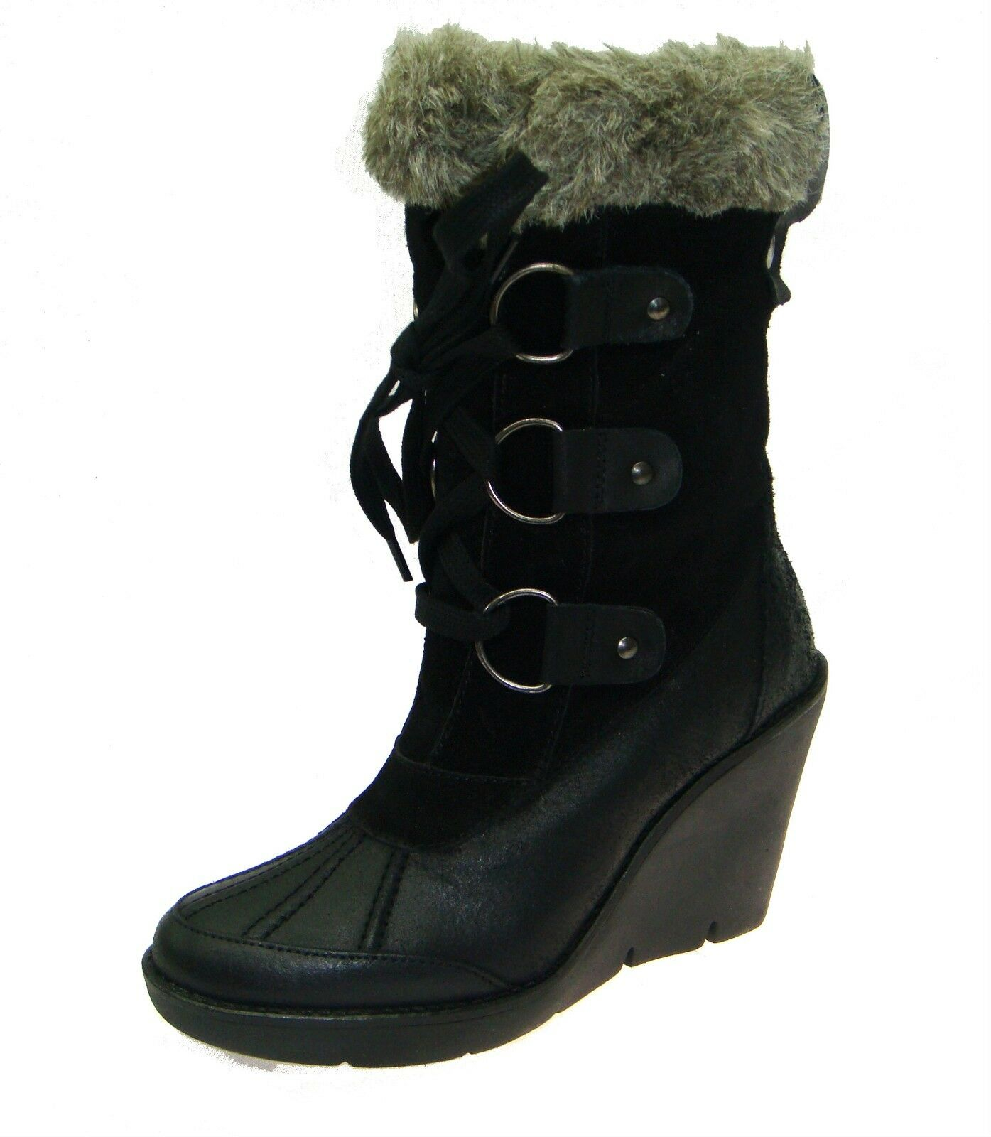 Womens Office Norm-Ski Outdoor Boot With Fur Black  Leather Boots Reg-Price 180