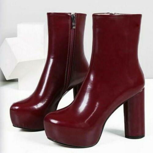 Women Platform Block High Heel Side Zip Nightclub Punk Casual Party Ankle Boots