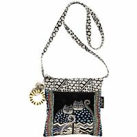 Laurel Burch Crossbody Tote With Zipper Top, Spotted Cats , New, Free Shipping