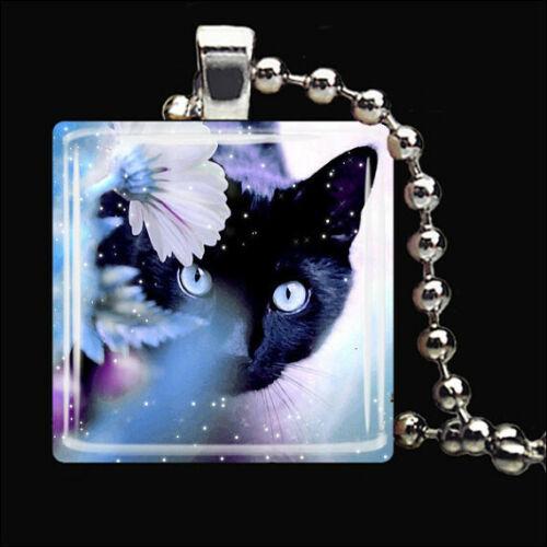 Chat Noir Magic Kitty Cat glass tile Collier Pendentif Bijoux en argent