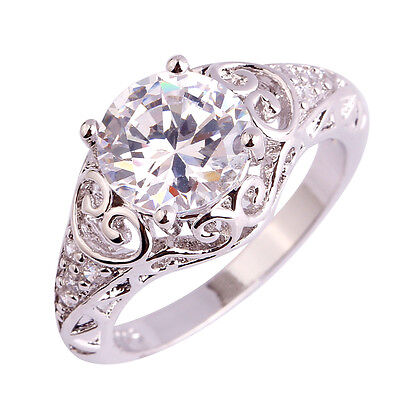 Size 6 7 8 9 10 11 AAA White Topaz Gemstone Silver Ring Round Cut High-End Bride