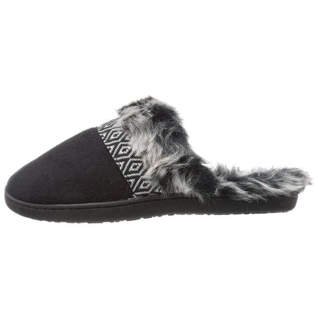 Northside MASON Womens Black//White Faux Fur Lining Comfort House Slide Slipper