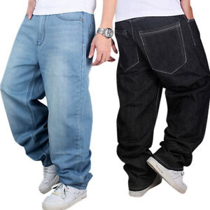 Fashion Men s Jeans Baggy Loose Denim Hip-Hop Rap Skateboard Pants ... f6f6a8b07