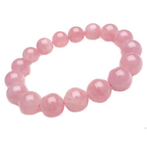 Charme Frauen Natürliche Deep Pink Rosenquarz Kristall Runde Perlen Armband H3F2