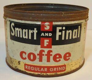 Vintage-1950s-S-amp-F-SMART-FINAL-COFFEE-KEYWIND-COFFEE-TIN-1-ONE-POUND-LOS-ANGELES