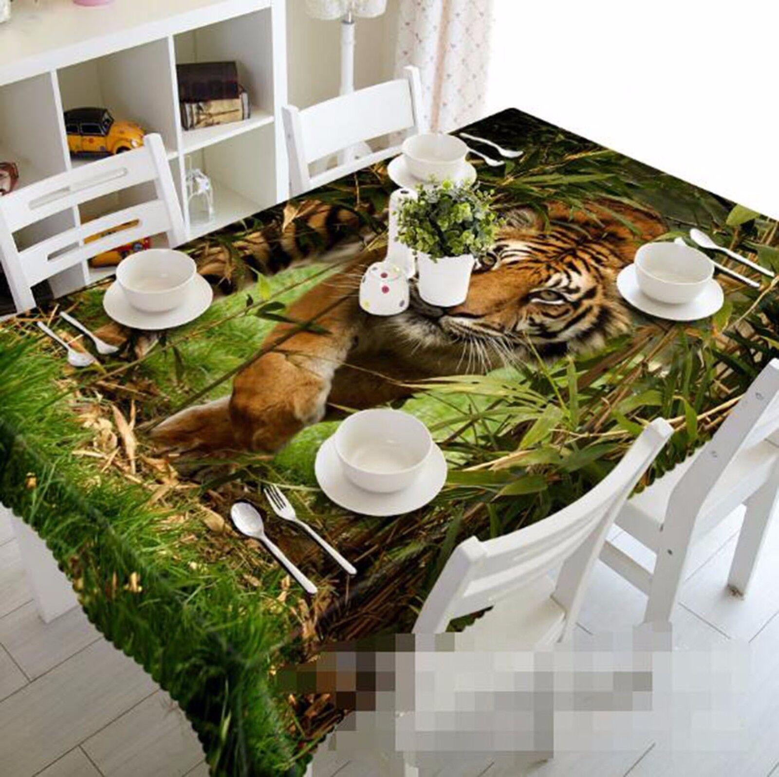 3D Tiger 411 Nappe Table Cover Cloth fête d'anniversaire AJ papier peint Royaume-Uni Citron
