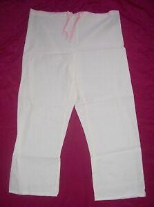 245054ffeac XL SCRUBS lounge wear BEACH PANTS TIE WAIST IVORY OFF WHITE CAPRI ...