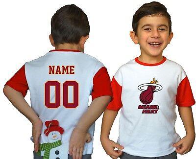 top fashion 25798 4baef Miami Heat Kids Tee Shirt NBA Personalized Logo Youth Unisex Jersey  Basketball | eBay