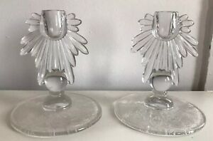 PAIR-ANTIQUE-NEW-MARTINSVILLE-CANDLE-HOLDERS-FLORENTINE-ETCHED-GLASS-VINTAGE
