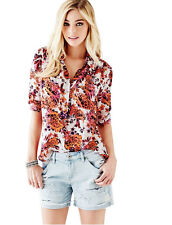 Nwt GUESS Charlotte Floral Button down Retro Shirt Top Blouse White Red XS 1 2 3