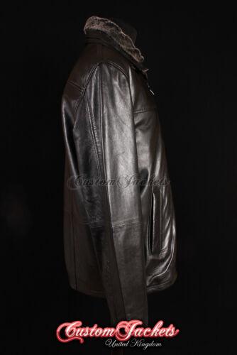 collo da con pelle di di vera pelliccia agnello nero in uomo Cappotto Sxn6HH