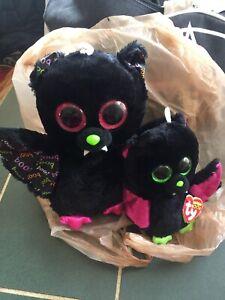 "2-Ty Bat Beanie Boos. Black Bat Medium DART 10"" & 6"" IGOR Beanie Bat."