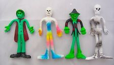 Vintage 4 Monsters Bendy Toys Dracula Vampire Mummy Skeleton Scarecrow Horror