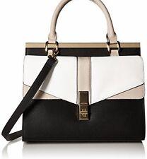 New NWT Aldo Paterno Satchel Color Block Cross body Handbag Black White Beige