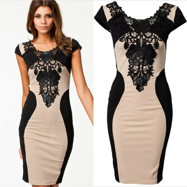 Sexy Ladies Lace Short Sleeve Slim Fashion Bodycon Party Cocktail Evening Dress