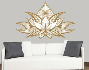 Detailed Lotus Flower Wall Art Vinyl Stickers Indian India Floral