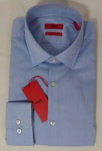 HUGO-BOSS-C-MABEL-US-RED-LABEL-DRESS-SHIRT-SHARP-FIT-HERRINGBONE-BLUE-NWT