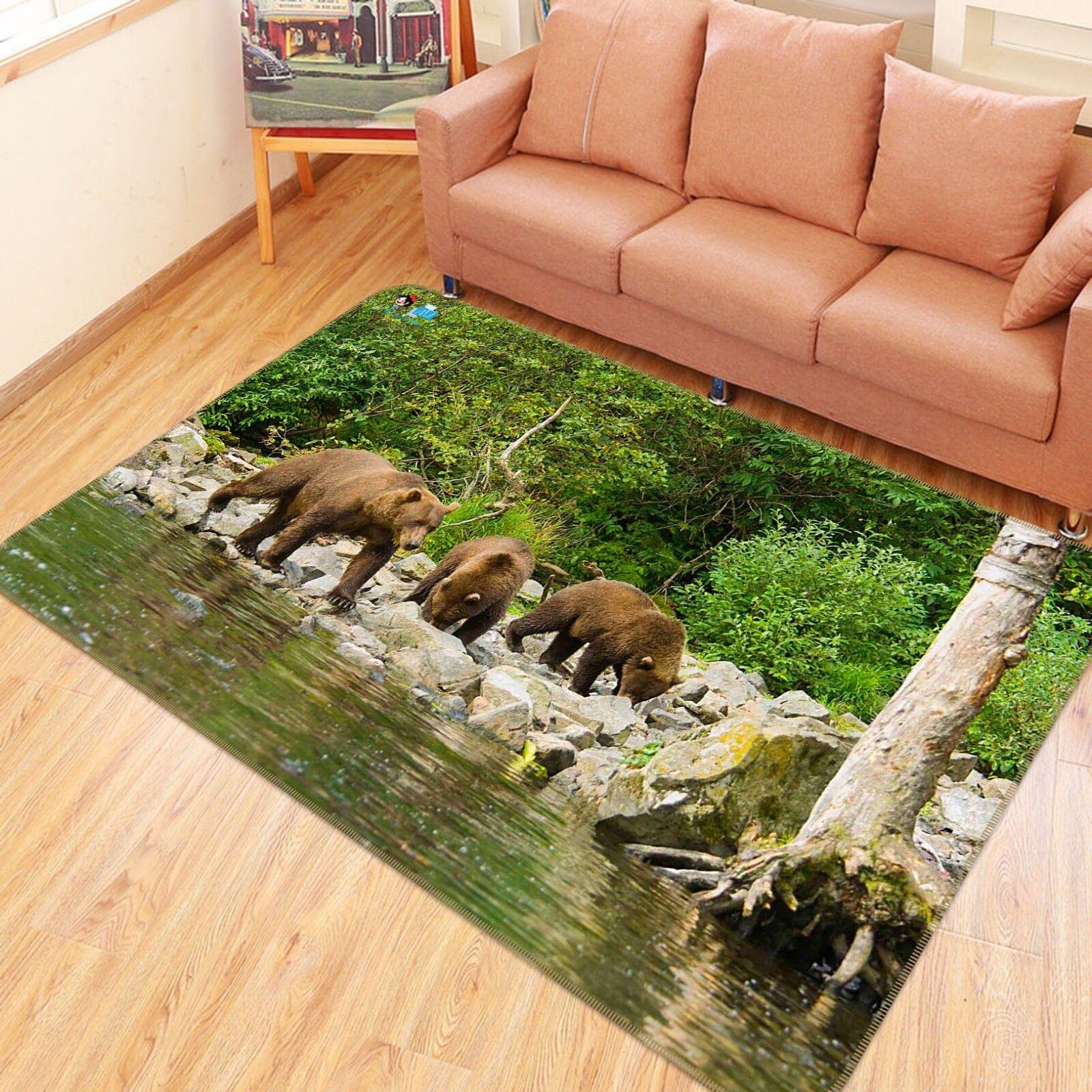 3D Orso naturale 785 tappetino antiscivolo tappeto camera Tappetino Qualità Elegante foto Tappeto UK