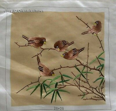 Chinese totally 100% hand su silk embroidery art:birds 8""