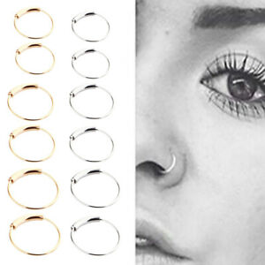 20Pcs Stainless Steel Nose Hoop Tragus Helix Lip Ear Piercing Ring Jewelry
