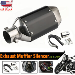 Universal-Motorcycle-Short-Exhaust-Muffler-Silencer-Slip-On-W-DB-Killer-38-51mm