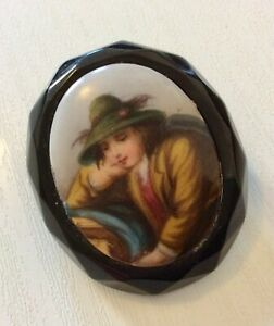 Beautiful-Antique-Victorian-Jet-Brooch-with-Porcelain-Miniature-Painting-Lovely