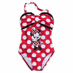 e7edc152a1 Disney Store Minnie Mouse Red Polka Dot 1pc Glitter Swimsuit Girls ...