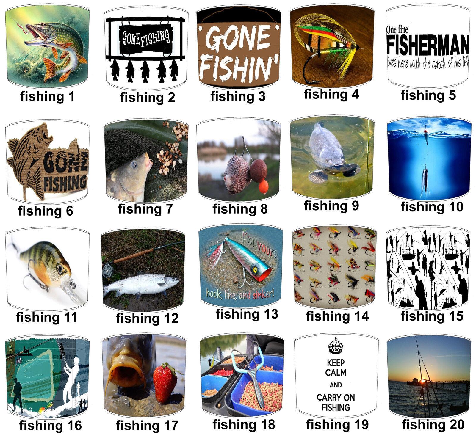 Sea Fishing, Carp Fishing, Fly Fishing, Pike & Course Fishing Designs Lampshades