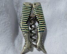 ANTIQUE Stockings Lady Legs Folding German Corkscrew Celluloid Barware Striped