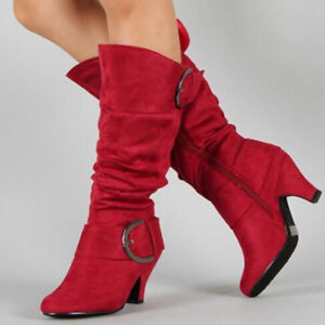 626b88b3cafa2 NEW Ladies Chic Buckle Ruched Velvet Moccasin Knee High Boots Block ...
